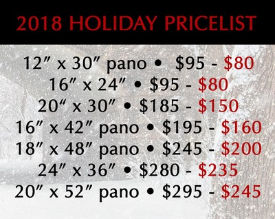2018 Holiday Pricelist